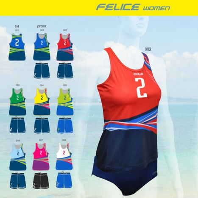 Strój do siatkówki plażowej Colo Felice - SUBLIMACYJNY